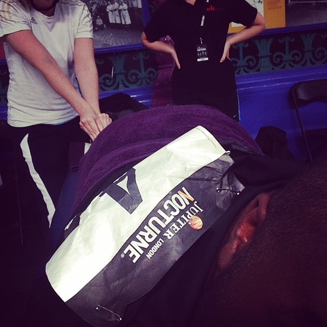 It's a hard life #londonnocturne #foldingbikerace #massage