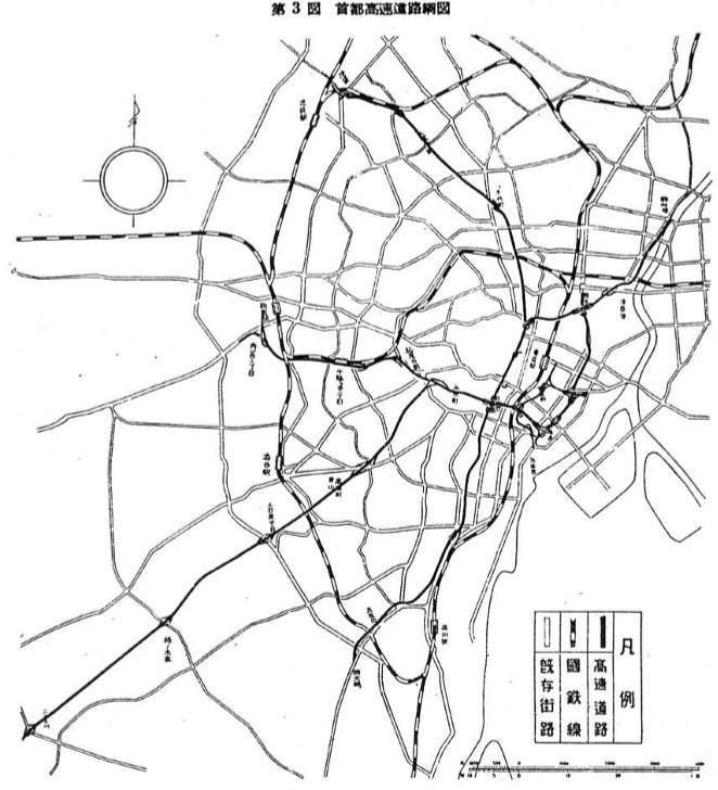 昭和28年の首都高速道路計画図