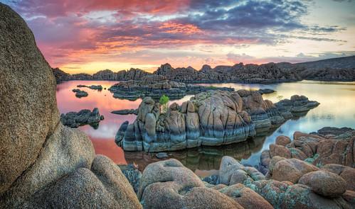 sunset red arizona sky panorama lake beautiful clouds sunrise michael pano az explore watson wilson tranquil prescott elitephotography michaelwilsoncom