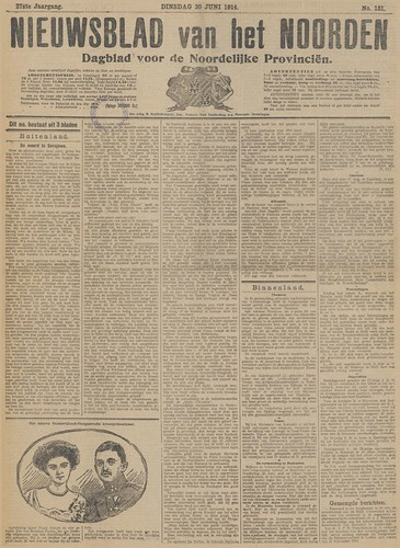 Nieuwsblad van het Noorden, 30 June 1914 (Collection National Library of the Netherlands)