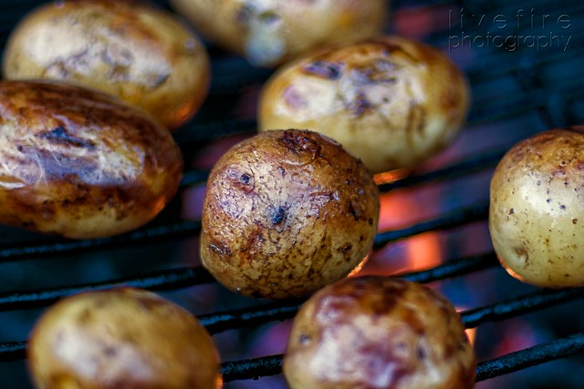 potatoes grilling