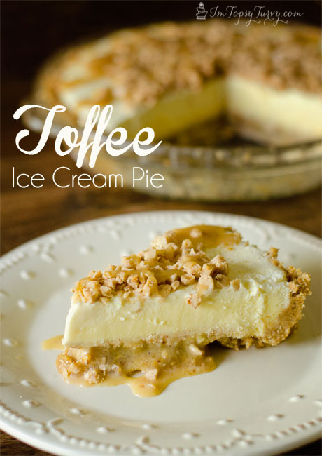 This caramel toffee ice cream pie recipe is easy and tastes great, a great summer treat!