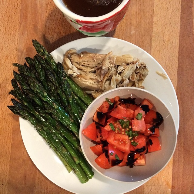 Day 9, #Whole30 - dinner (leftover roast chicken, roast asparagus, tomato & fresh basil salad, and bone broth)