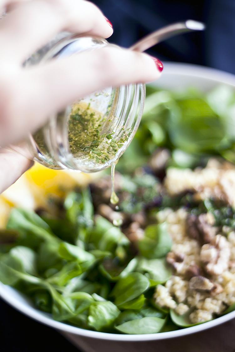 millet, orange and corriander salad + dressing