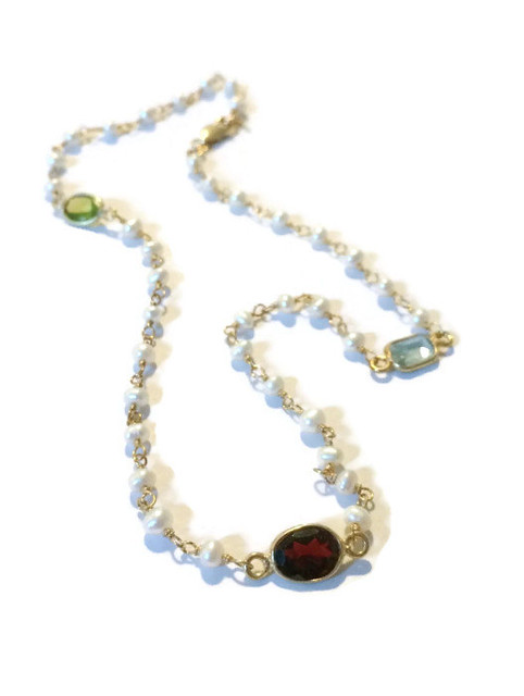 gold gemstone pearl necklace