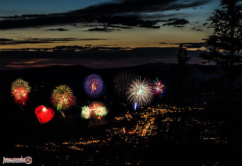 sunset mountain tree lights town colorado fireworks steamboat
