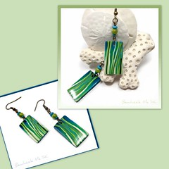 polymer clay Shades of Green earrings