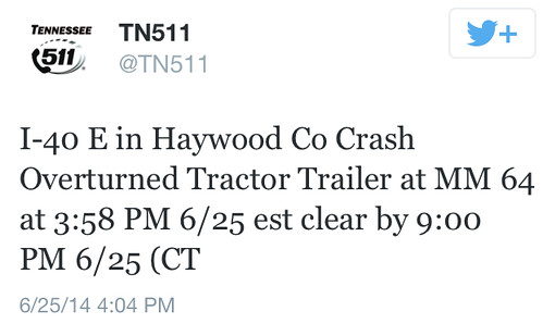 @TN511 Tweet on the Tractor Trailer Explosion