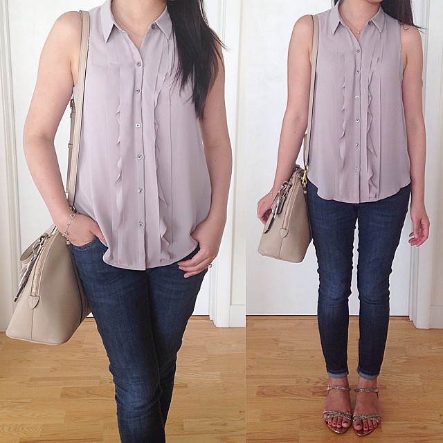 Simple #ootd with a favorite ruffled button down from @loftgirl. Happy Friday!