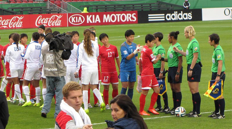 North Korea vs USA, U-20 Women's World Cup - pre-game handshake