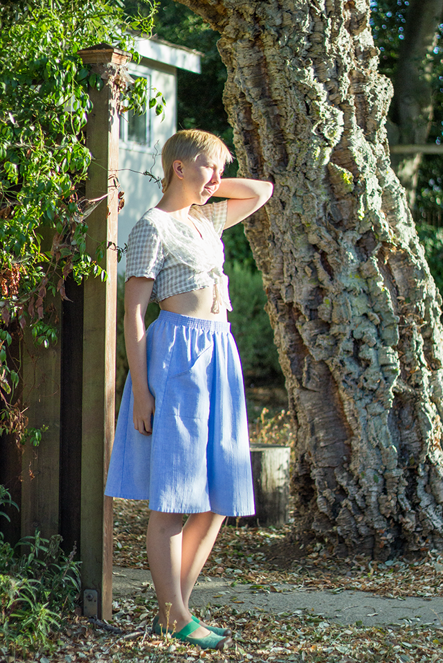 diy vintage crop-top with lace sailor collar, pastel blue linen midi skirt