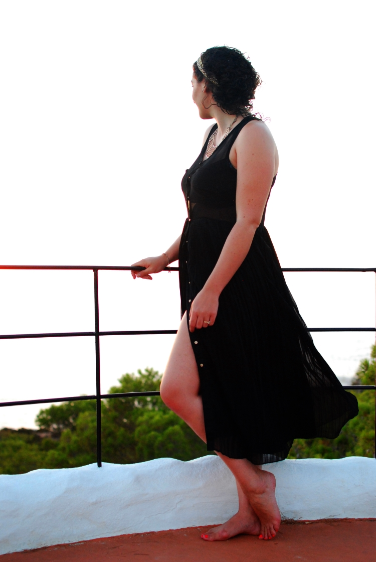 holiday style black midi dress