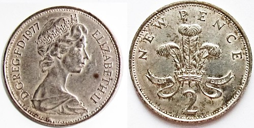 Silver-Plated 1977 Two Pence