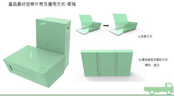 學生為運送青蔥設計的箱子,兩側有排水透氣孔,而且可以拆開扁平收納。圖片來源:綠粉絲