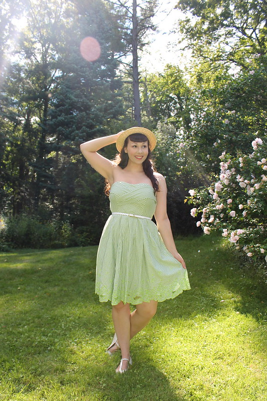Green gingham dress