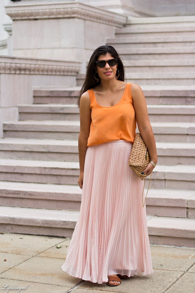 Blush chiffon maxi skirt, orange silk blouse.jpg