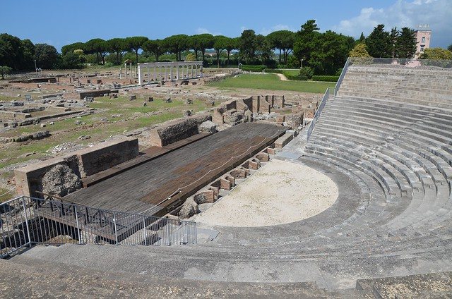 The Roman theatre, built in the late Republican era or at the beginning of the Empire, Minturnae, Minturno, Italy
