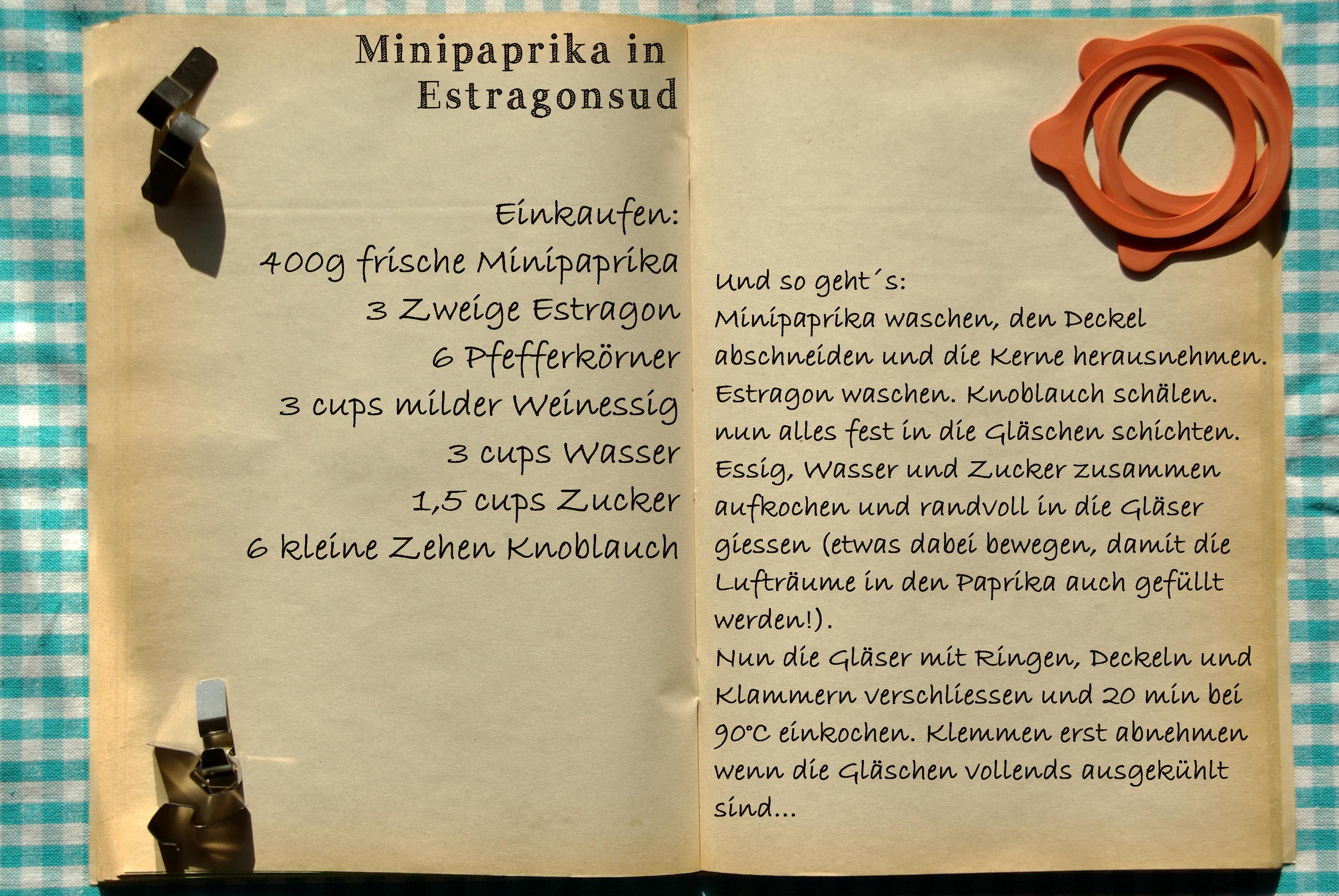Einkaufszettel Paprika in Estragonsud by Glasgeflüster