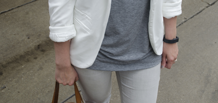 white blazer + gray jeans