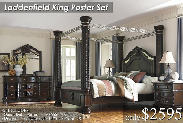 B717-Laddenfield King Poster Set $2595 Chest $665 Extra NS $475