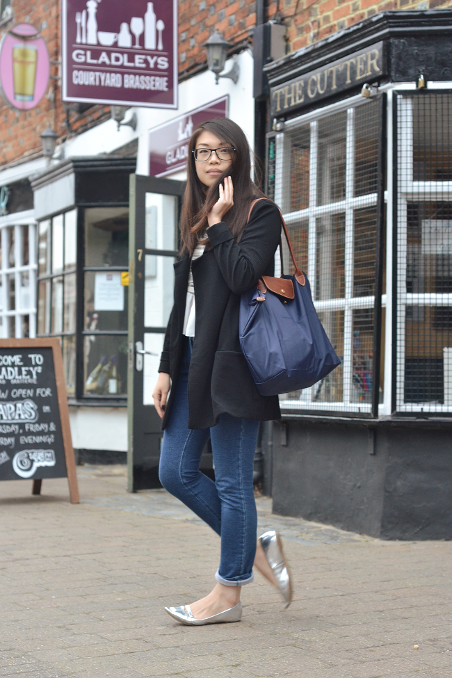 Daisybutter - UK Lifestyle and Fashion Blog: what i wore, uk fashion blogger, metallic shoes, duster coat, AW14, CHANEL jeans, longchamp le pliage tote