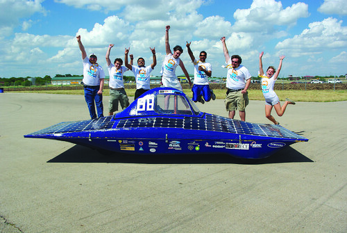 An example of the hands-on experience students receive, the UT Solar Vehicles team, a group of engineering students, designed, built and raced its solar creation at the Formula Sun Grand Prix at the Circuit of the Americas. (Photo courtesy of Cockrell School)