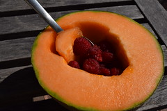 Cantaloupe With Raspberry