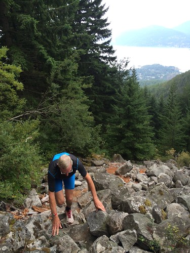 My dad climbing up the Baden Powell Trail