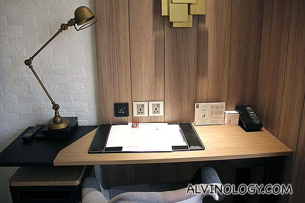 Modern work desk with all the electrical sockets you need