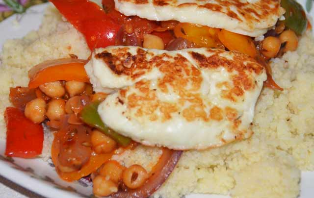 Halloumi and chickpeas on a bed of couscous