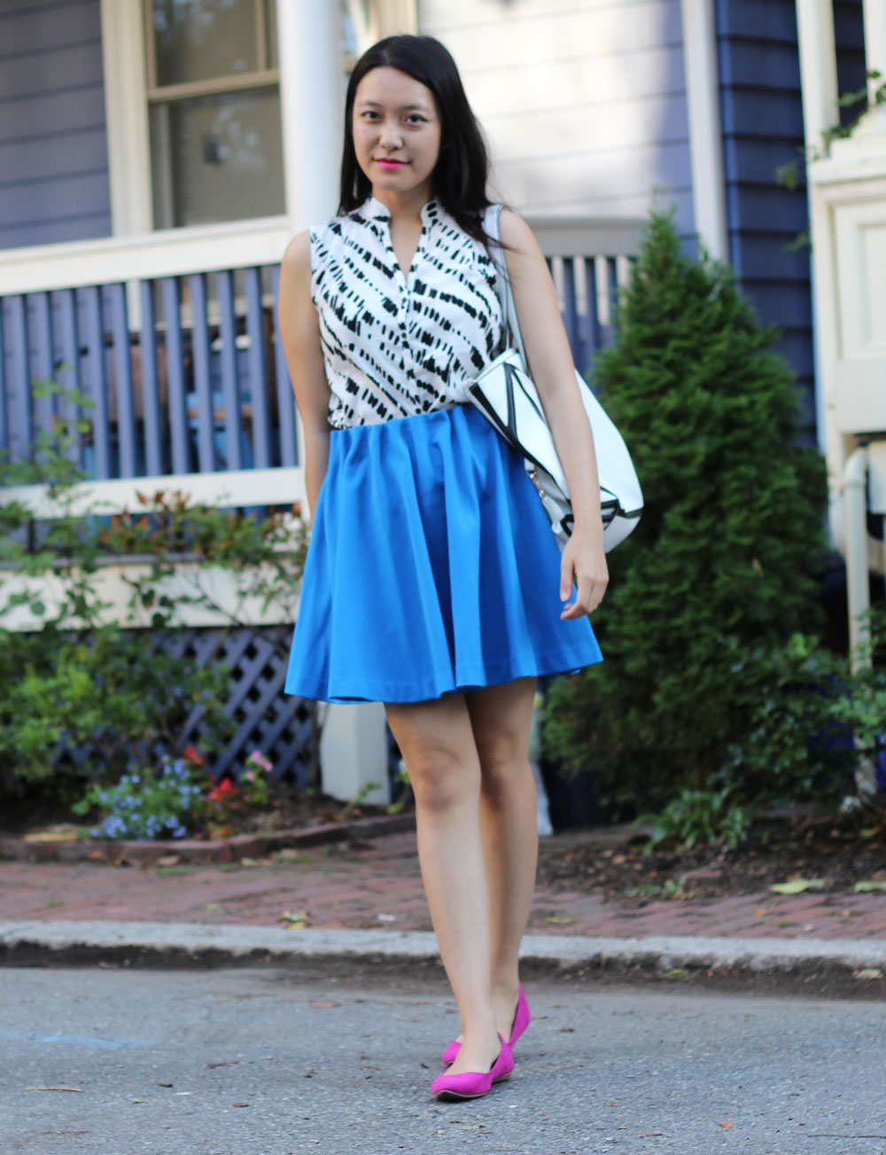 Magenta flats and bright blue skirt || Another Beautiful Thing blog