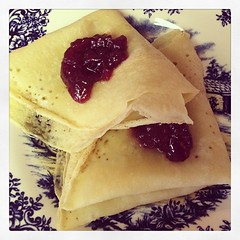 #glutenfree #dairyfree (not egg free, tho) crêpes. With lingonberries. #culturemashup