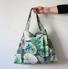 Vintage blue barkcloth Tote Bag