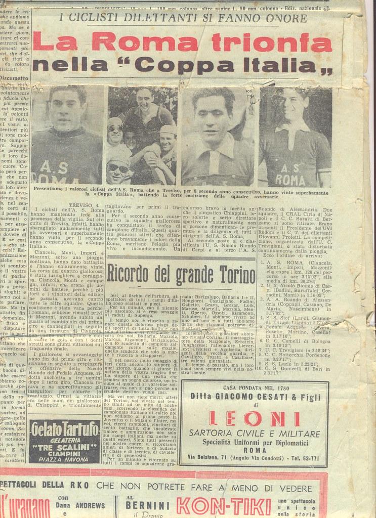 """La Roma trionfa nella """"Coppa Italia"""" 1952"""