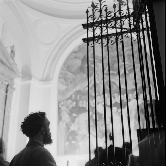 Cuadro del entierro del Señor de Orgaz en los años 50. Fotografía de Francesc Catalá Roca © Arxiu Fotogràfic de l'Arxiu Històric del Col·legi d'Arquitectes de Catalunya. Signatura B_5710_469