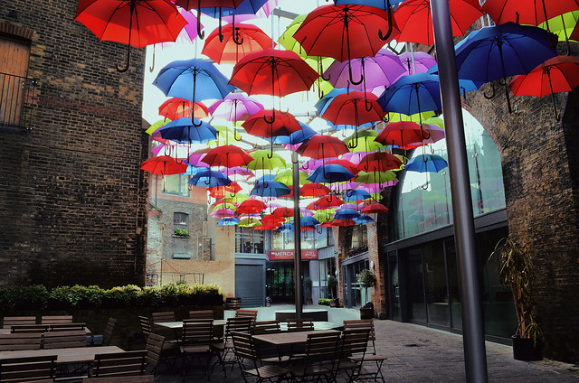 Borough market umbrellas yard, London