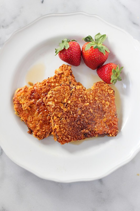 Pumpkin French Toast with Cinnamon Sugar Cornflake Crust