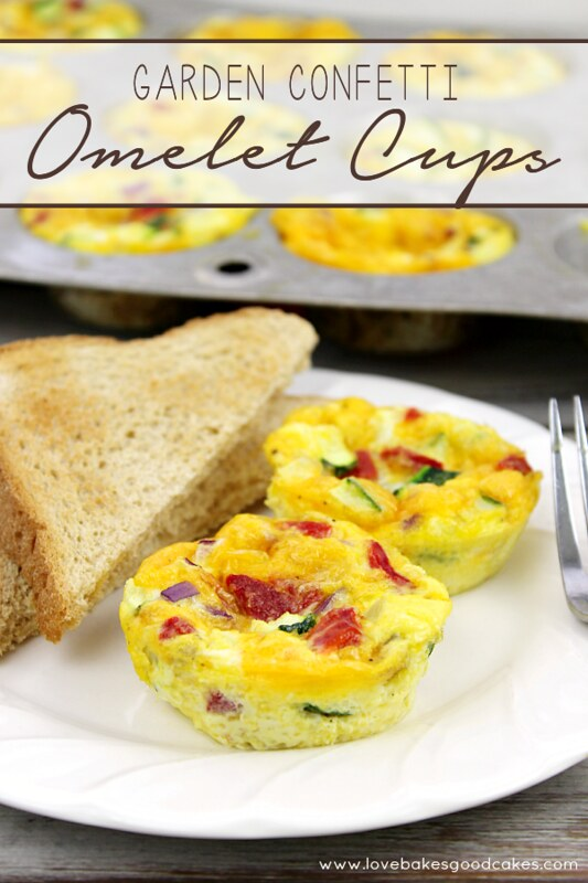 Garden Confetti Omelet Cups with toast on a white plate.
