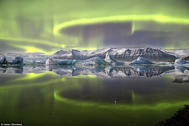 Aurora Over a Glacier Lagoon by James Woodend