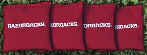 ARKANSAS RAZORBACKS 4 RED CORNHOLE BAGS