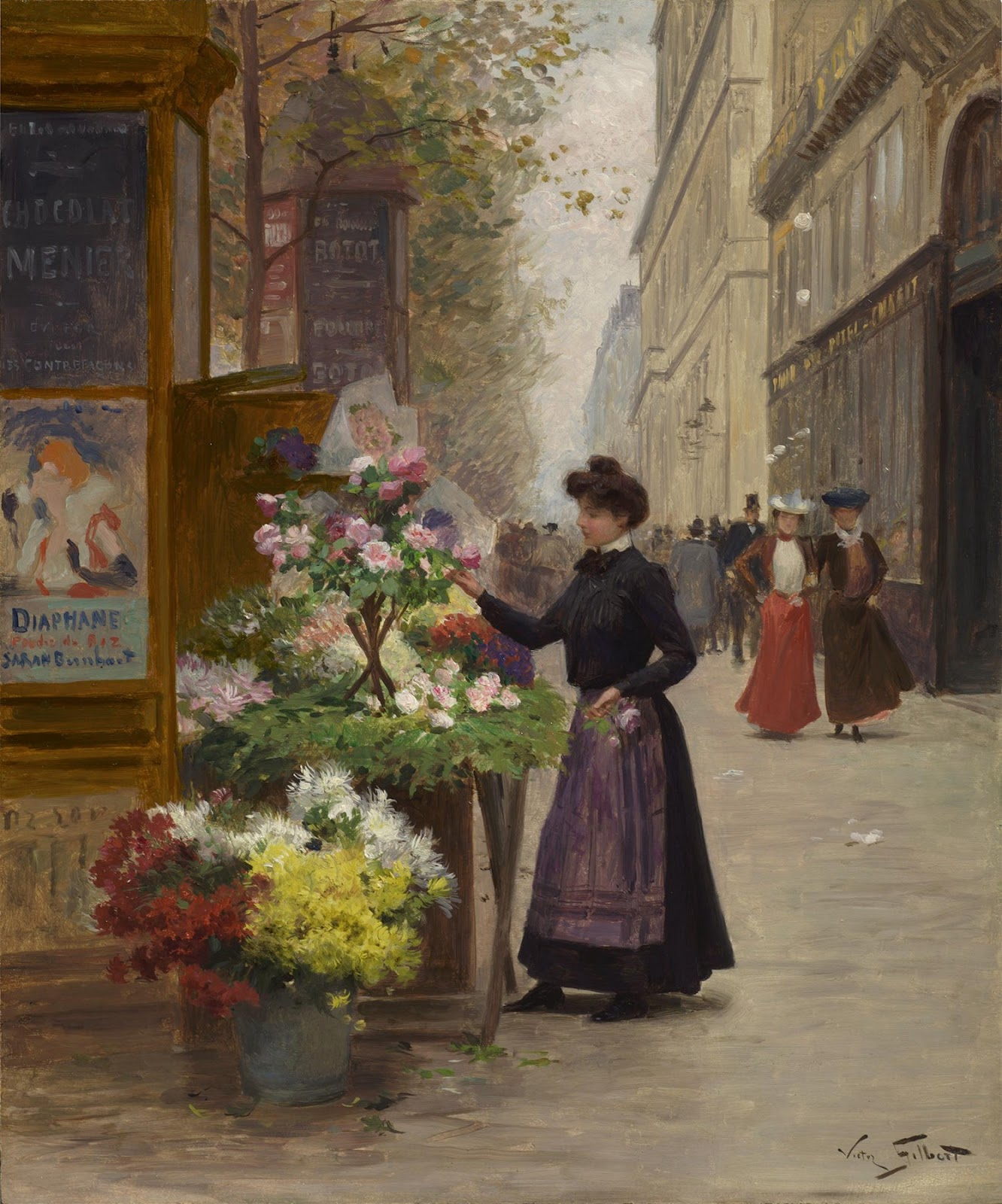 Flower Vendor on the Grandes Boulevards, Paris by Victor Gabriel Gilbert