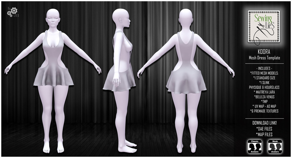 Koora Mesh Dress Template - SewingLies jpg - SecondLifeHub.com