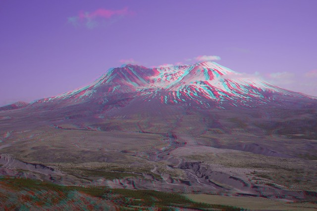 Mt St Helens in 3D, red/cyan anaglyph