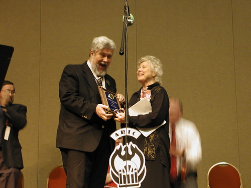Thomas E. Fuller presents Joyce Leigh with the ARTC Lifetime Achievement Award.