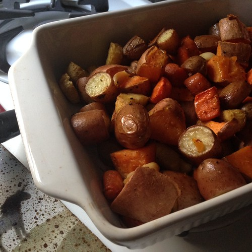 Vegetarian Dinner: Roast Veggies and 3 Bean Burgers