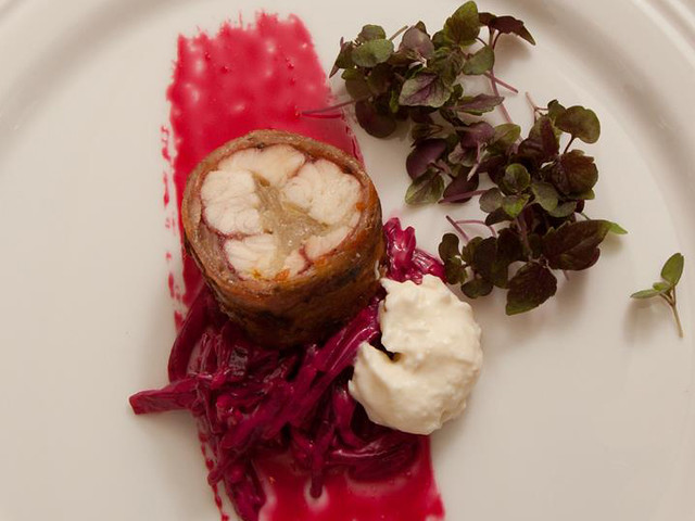Smoked Eel with Pancetta, Beet Rémoulade and Horseradish