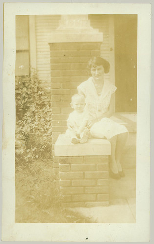 Woman and child on porch