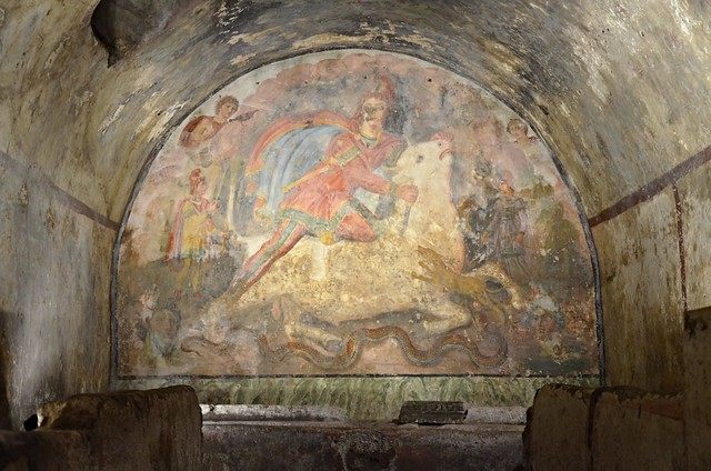 Tauroctony fresco in the mithraeum of Capua, 2nd century (CIMRM 181), Mithraeum (mitreo), Ancient Capua