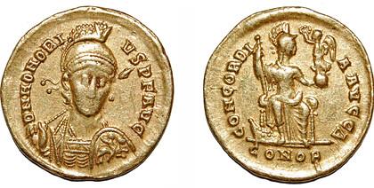 gold solidus of Honorius