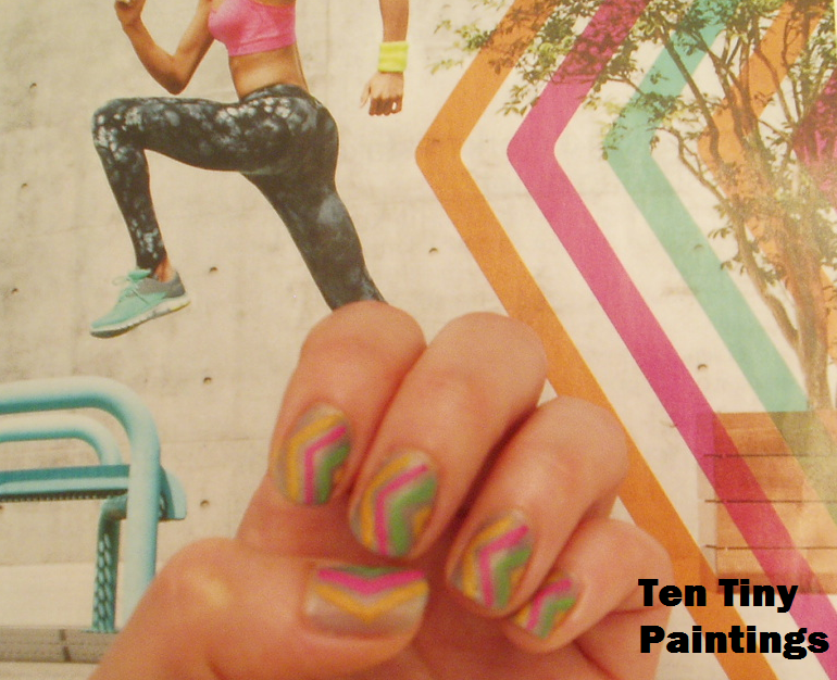 Colorful Chevron nail art design inspired by C9 by Champion ad in SELF magazine